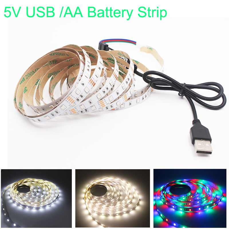 1M 2M 3M 4M 5M USB LED Strip DC 5V Flexible Light Lamp 60LEDs SMD 2835 50CM Mini 3Key Desktop Decor Tape TV Background Lighting(China)