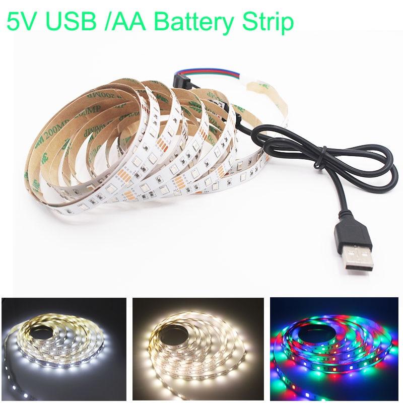 1M 2M 3M 4M 5M USB LED Strip DC 5V Flexible Light Lamp 60LEDs SMD 2835 50CM Mini 3Key Desktop Decor Tape TV Background Lighting