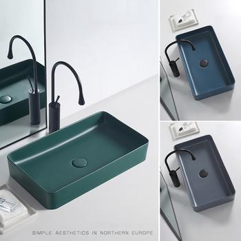 Nordic matowy zielony powyżej umywalki umywalki domowe umywalka pojedyncza umywalka ceramiczna kwadratowa umywalki łazienkowe umywalki szamponowe tanie i dobre opinie BEZ OTWORU Prostokątne drainer+drain pipe YL200829C Zlewozmywaki blatowe Zlewy na szampon MATOWE green gray blue 61x35 40x30 5048x37 45x32