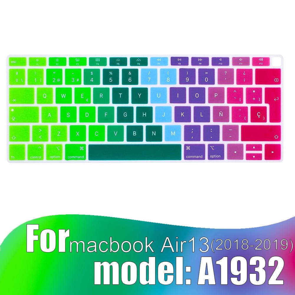 Цветная пленка для клавиатуры для Mac Book Air 13 A1932 (2018-2019) touch ID, силиконовая защитная пленка с испанской раскладкой для клавиатуры, защитная плен...