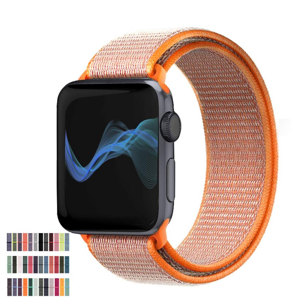 Band For Apple Watch 4 5 Series 3/2/1 38MM 42MM Nylon Soft Breathable Replacement Strap Sport Loop For Iwatch Series 4 40MM 44MM