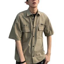 Короткий рукав инструменты рубашка отложной воротник лето мужские свободные повседневные топ рабочая одежда