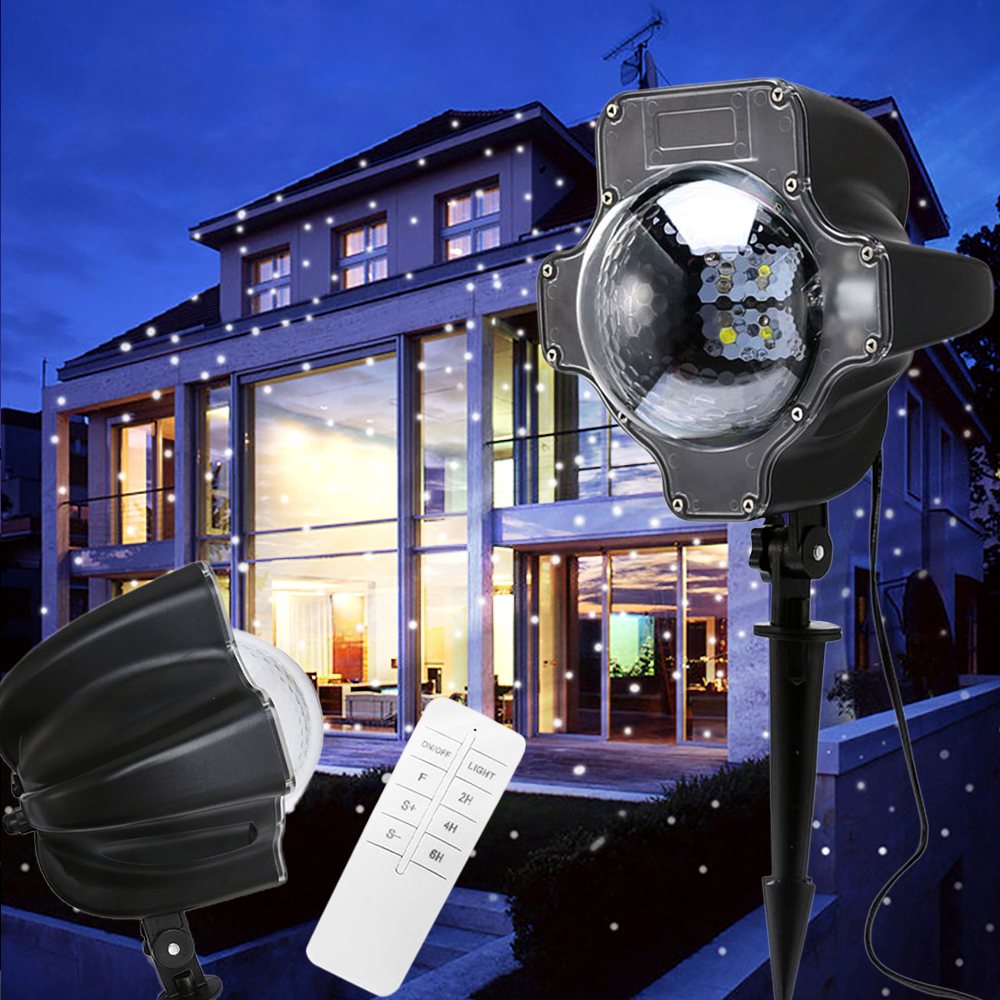 Snowing Projector Light Outdoor Christmas Garden Projector  Spotlight Snowflake Landscape Lamp Decoration D20