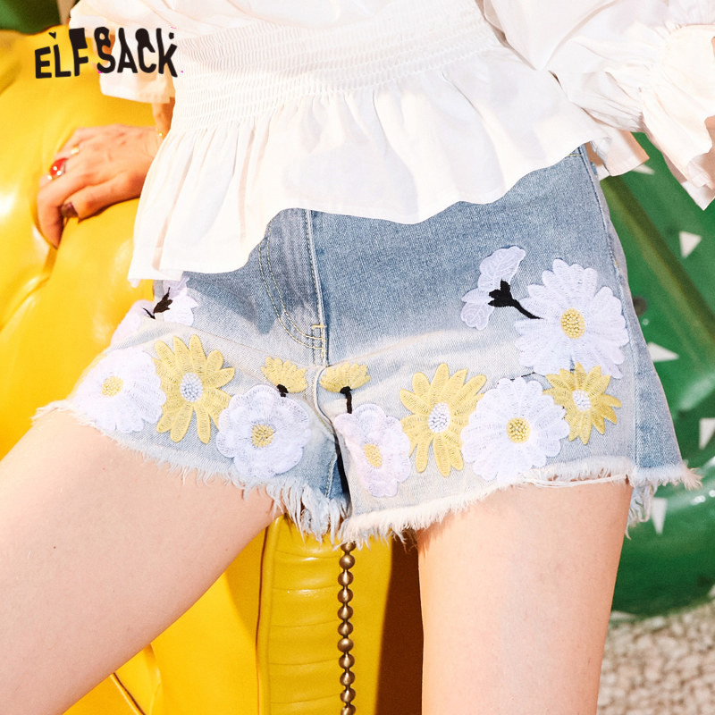 ELFSACK Daisy Flower Embroidery Casual Washed Women Denim Shorts 2020 Summer ELF Raw Hem Sexy Ladies Korean Sweet Bottoms