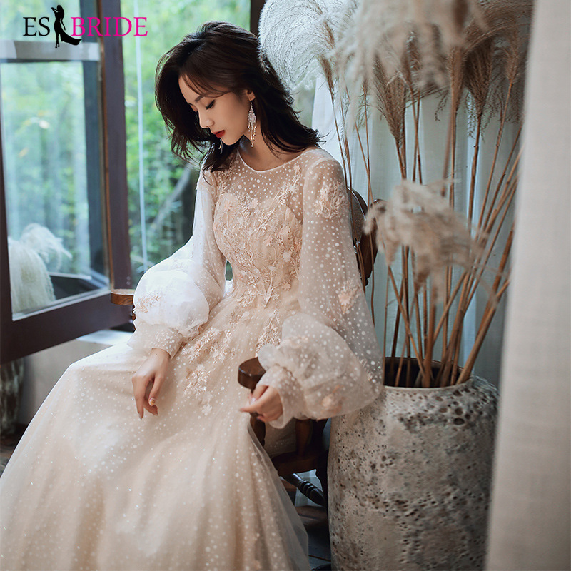 Elegant Champagne Evening Dresses Long Puffy Sleeves ES3223  Round-Neck A-Line Appliques Lace Tulle Party Gowns Vestidos Longo