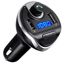 Bluetooth FM Transmitter, Wireless in-Car FM Transmitter Radio Adapter Car Kit, Universal Car Charger with Dual USB Charging Por lcd display wireless radio fm transmitter car kit with car charger for iphone5 6