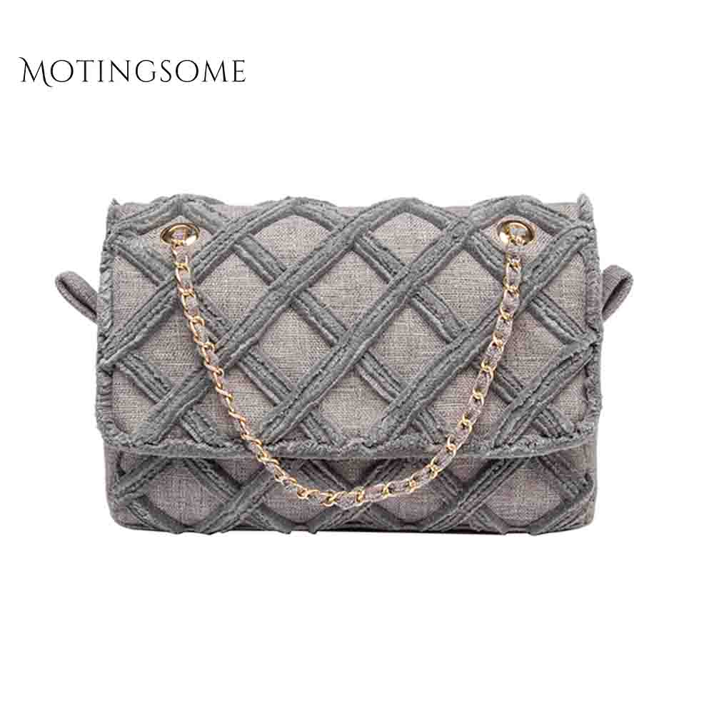 Canvas Cotton Women Tote Bag Cotton And Linen Large Shopper Chains Shoulder Crossbody Fashion Bags Purse Brand Design 2019 New