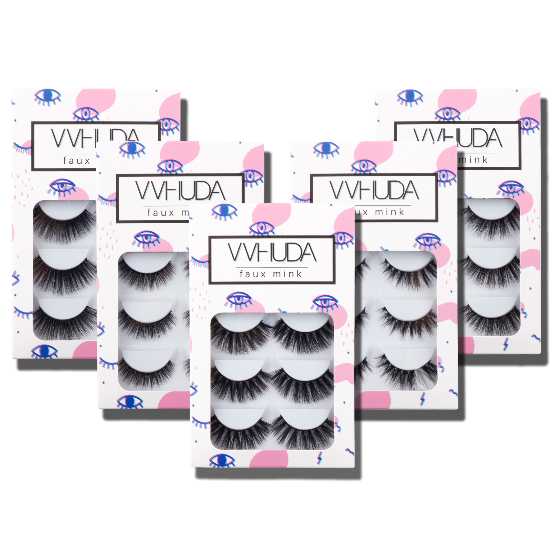 VVHUDA Faux Mink Eyelashes Demi Wispies Super-soft Tapered Fiber 5Pair Volume Reusable Premium Extension Eye Fur Lashes Fluttery