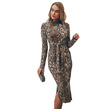 Bodycon Snake Print Dress Women 2019 Vestidos mujer Plus Size Casual elegant Party Winter Sexy vintage Long Sleeve