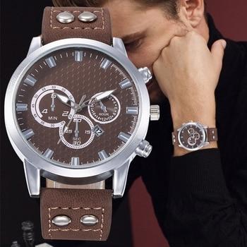 Mens Casual Fashion Trend Wild Belt Watch Business Leather Buckle Sports Quartz Wristwatch