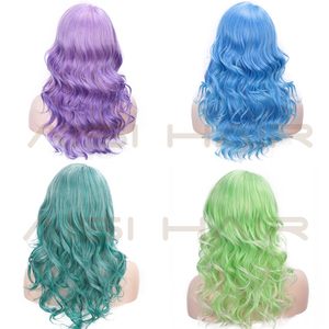 Image 5 - AISI HAIR Long Blue Wig Curly Hair Pink Purple Synthetic Mixed Color Wigs Side Part Wig for Party Cosplay Halloween