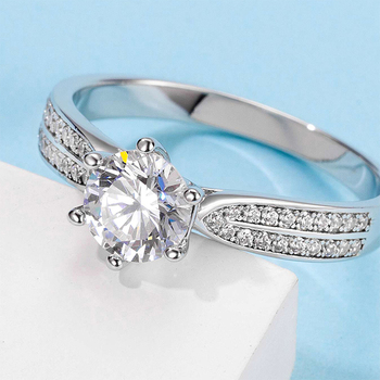 White Gold Plated 925 Sterling Silver Main Stone 1ct 6.5mm MoissaniteS Side Stone Cubic Zirconia Ring Jewlery M06A
