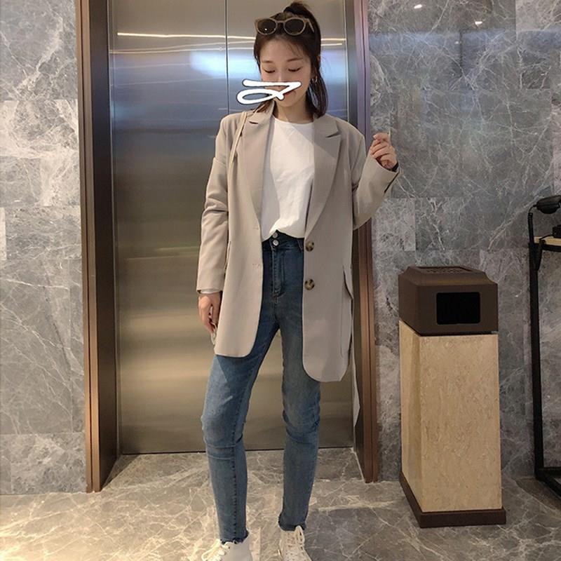 Women Solid Single Breasted Casual Blazer Slim Belt Lace Up Pockets Suit Jacket Notched Harajuku Long Sleeve Loose Blazer
