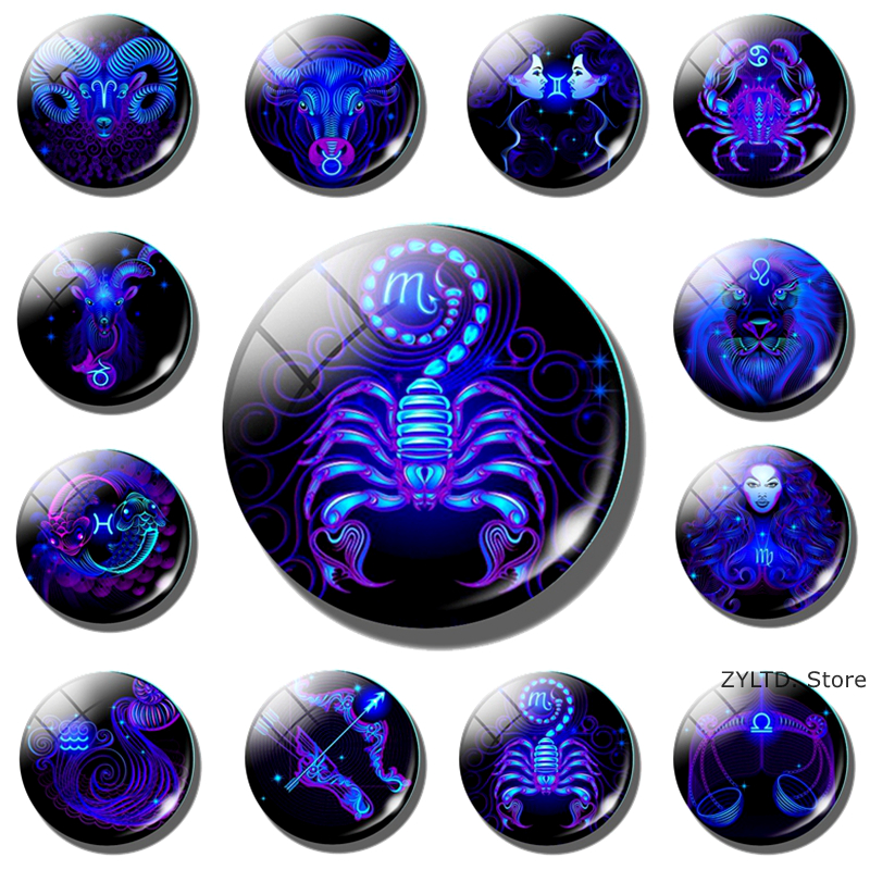 Constellation Fridge Magnet 12 Constellations Zodiac Sign  Refrigerator Magnets Glass Cabochon Message Board Stickers Home Decor