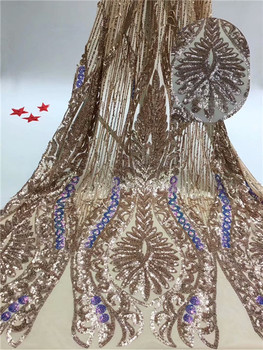 Most fashion French net lace fabric nice design tulle evening dress material with sequins for lady RFN57(5yards/lot)