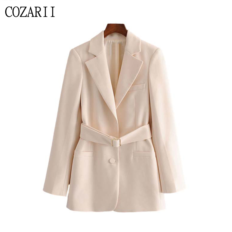 Women stylish solid blazer bow tie belt notched collar pockets long sleeve coat female office wear casual tops