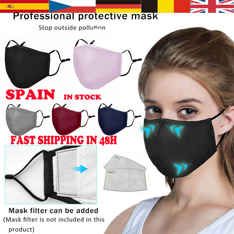 Spain Fast Shipping Adult Mouth Mask Respirator Washable Reusable Face Masks Bamboo Fiber Unisex Mouth Muffle For Outdoor Travel