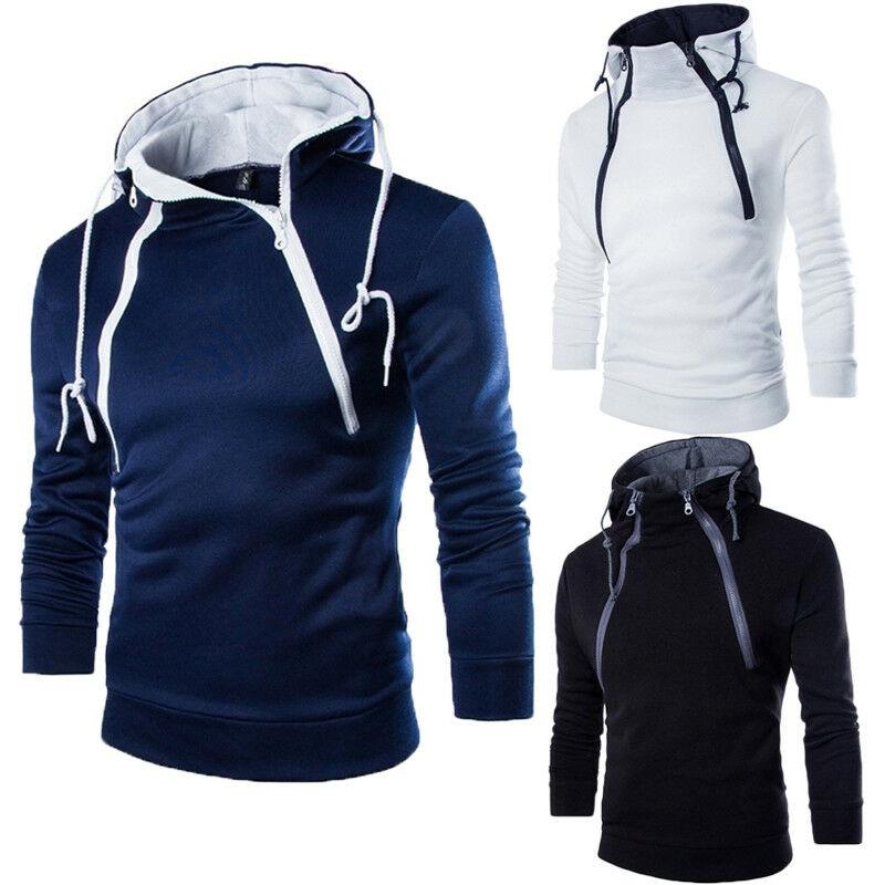 2019 New Autumn Winter Men Casual Warm Hooded Slim Sweatshirts Men Sport Hooded Tops Outwear