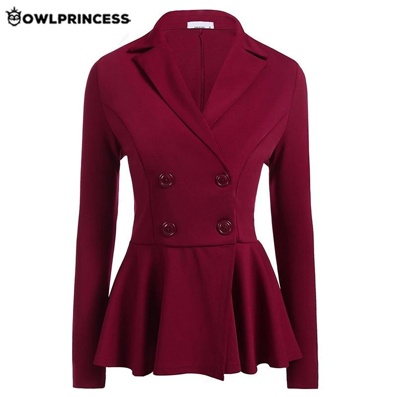 Madam Clothing  OWLPRINCESS Womens Office Business Suits Autumn Black Double Breasted Femme Work Blazers Jackets Slim Blazer