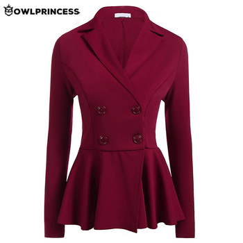 Madam clothing  OWLPRINCESS Womens Office Business Suits Autumn Black Double Breasted Femme Work Blazers Jackets Slim Blazer