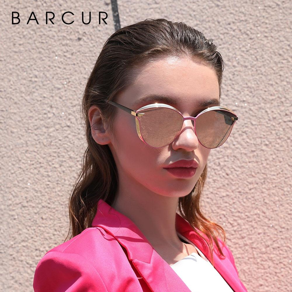 BARCUR Luxury Polarized Sunglasses Women Round Sun glassess Ladies lunette de soleil femme 2
