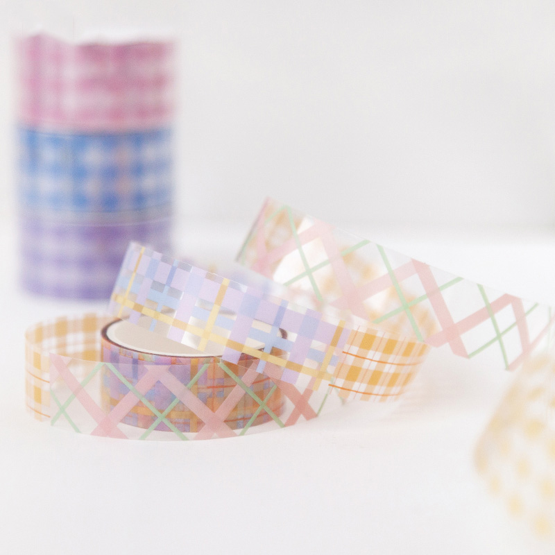 1PC Kawaii Grid Masking Tape Cute Transparent Washi Tape Decorative Tape For Students Sticker Scrapbooking DIY Photo Album