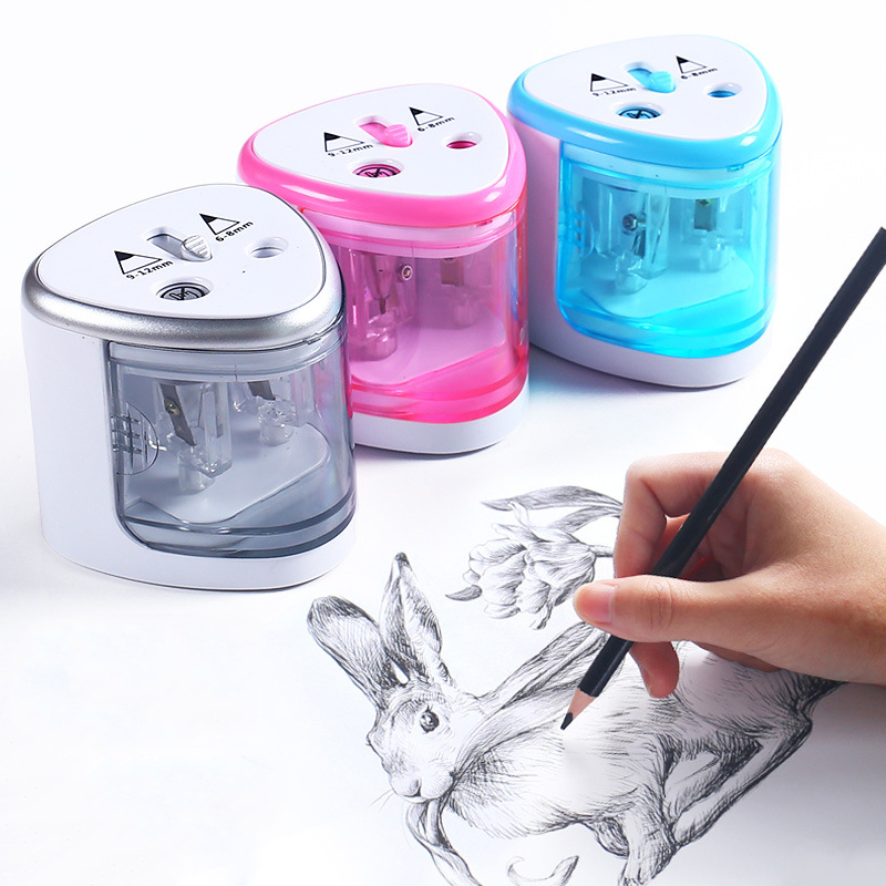 Electric Auto Pencil Sharpener Double Hole Touch Switch Pen Sharpener For 6-12mm Pencil and Color Pencil School Home Stationery