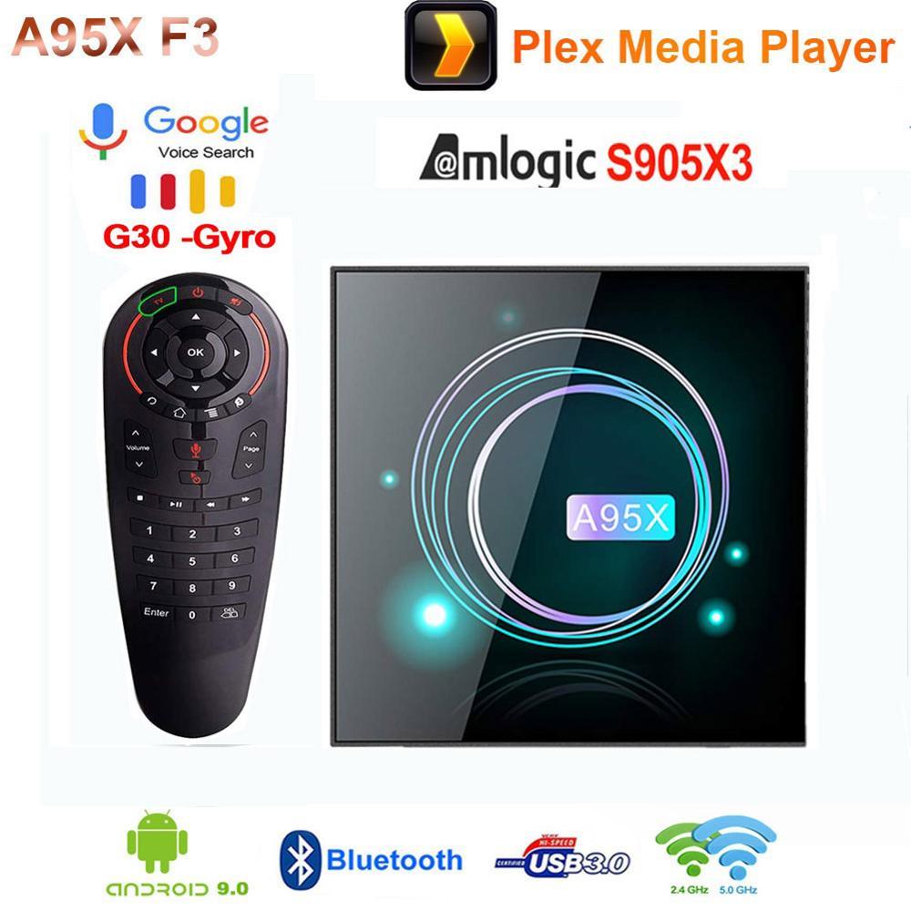 A95X F3 Dünne Smart TV Box Android 9,0 Amlogic S905X3 4GB 64GB Plex Media player 2,4G/5G Wifi 100M BT Set Top Box mit Air maus