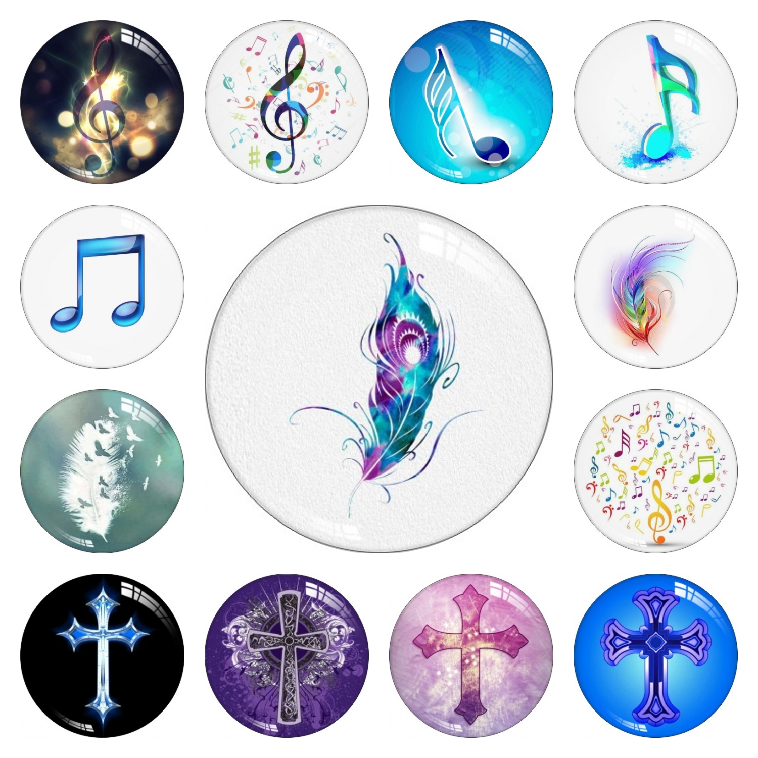Cross Fashion Music Symbol Round Photo Glass Cabochon 12mm 14mm 16mm 18m 20mm 25mm 30mm Snap Button Jewelry DIY Making Earring image