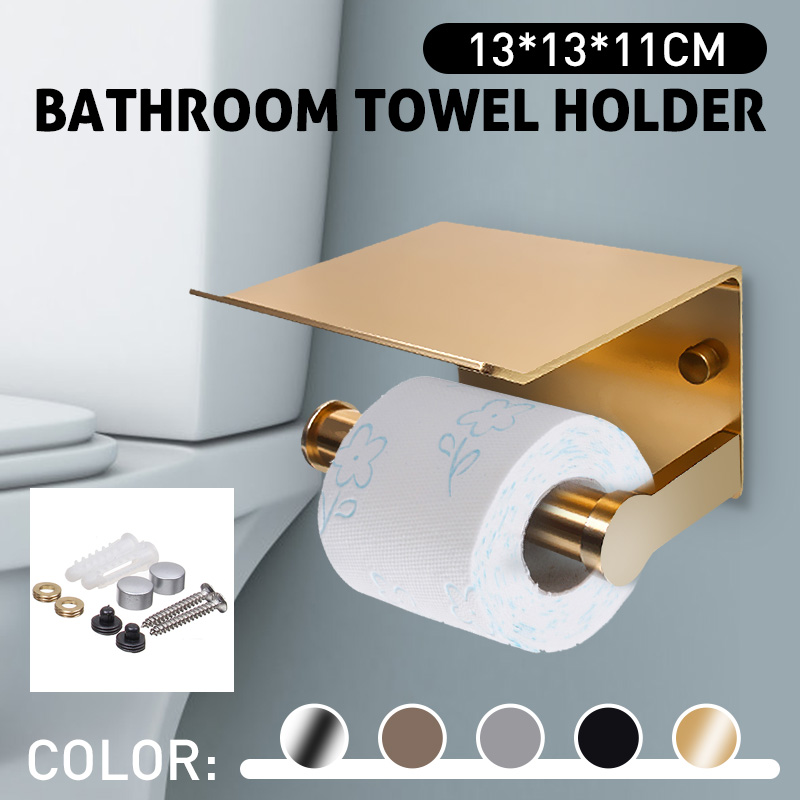 Paper Holders Bathroom Accessories Toilet WC Paper Holder Mobile Phone Roll Holder With Shelf Towel Rack Black