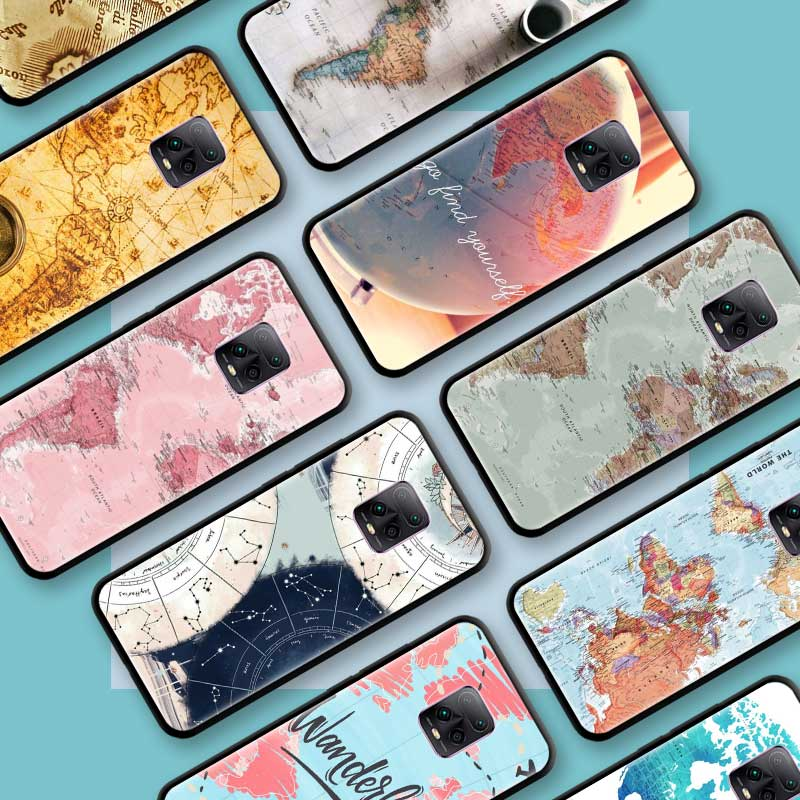Black Tpu Capa For Xiaomi Redmi Note 8 9S 8T 9 7 10X 5G K30 Pro Zoom 7A 8A K30i Coque Phone Cases World Map Travel Plans