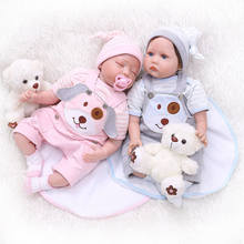22inch 55CM bebe realistic reborn twin baby doll sleeping/awake lifelike soft silicone real touch weighted body rooted hair(China)