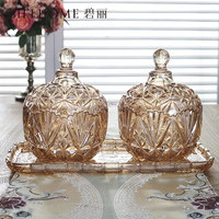 Candy can American type glass storage tank with cover European style fruit dish creative candy box storage container large size