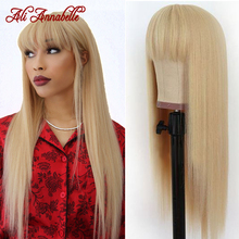 Wig Human-Hair Full-Machine Ali-Annabelle Hair-Wigs Bangs Blonde Straight Brazilian Made