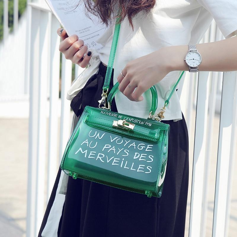 Transparent PVC Shoulder Bags Women Candy Color Women Jelly Bags Purse Solid Color Handbags Messenger Crossbody Female Bag Tote