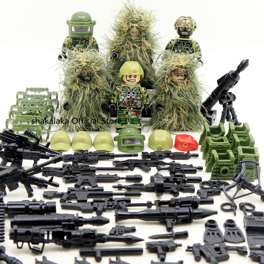 6pcs Ghillie Suit MILITARY Camouflage Army Special Forces Soldier War SWAT DIY Building Blocks Figure Educational Toys Gift Boys