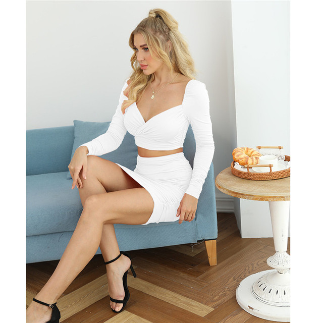 CNYISHE Winter 2020 Two Piece Sets Elegant Crop Top and Mini Skirts Suits Women's Tracksuit Solid Office Lady Matching Set Suit 5