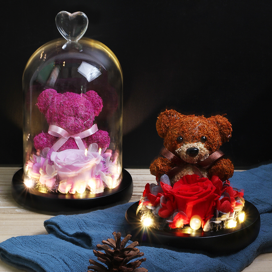 Bonito com urso flores cor-de-rosa led luzes da noite em uma cúpula de vidro do dia das mães do dia dos namorados rosa imortal