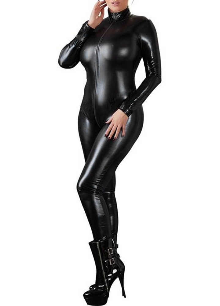 Sexy Dessous Schwarz Weibliche Faux Leder Catsuit PVC Latex Body Front Zipper Öffnen Gabelung Stretch bodystocking Erotische