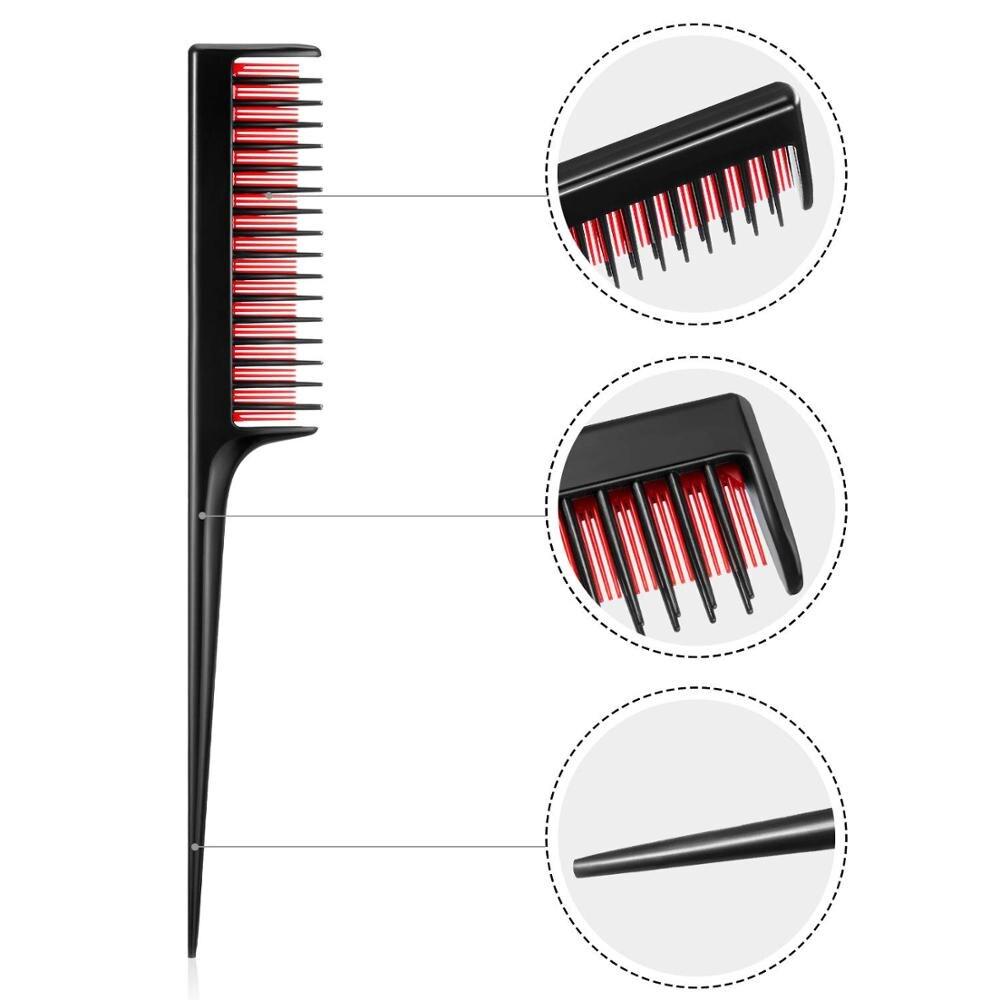 2020 Hot New Triple Teasing Hair Comb Hairbrush Anti-static Highlight Hair Style Rat Tail Comb Dye Salon Barber Tool Hair Brush