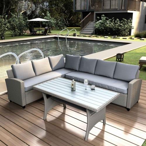 Уличная мебель секционные PE Ротанга набор плетеной патио с искусственной древесины зерна верхней стол и подушки современный дизайн садовые наборы