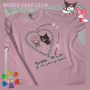 Оригинальный дизайн, милая винтажная свободная футболка с цепочкой в стиле Харадзюку, koomi Y2K, с короткими рукавами