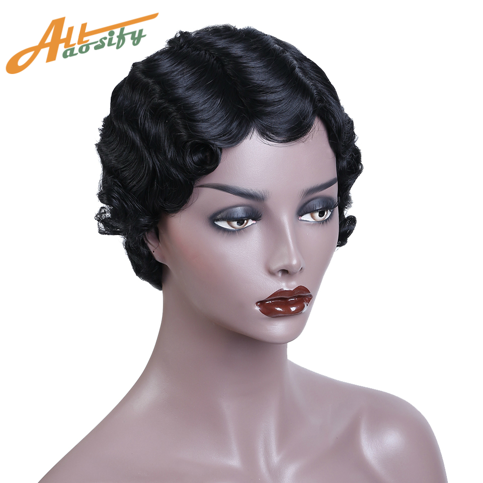 Allaosify Short Curly Wigs Black Hair Synthetic Wigs For Black Women Heat Resistant Hair African Wigs Blonde Orange Black Red