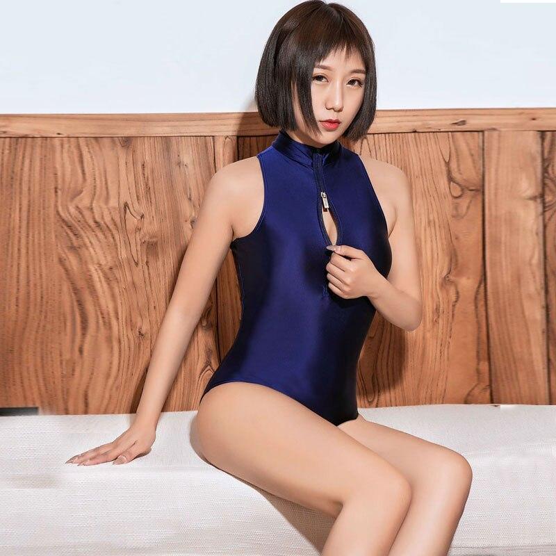 Sexy Japanese School Kawaii Bodysuit Dark Blue Sukumizu High Cut One Piece Swimwear Thong Club Wear Leotard Sexy Tight Wear F18