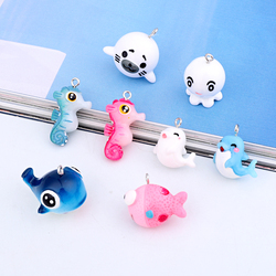 Mixed 6pcs Nautical Resin Dolphin Hippo Whale Earring Charms Cute Jellyfish Bracelet Necklace Hair Rope Pendan Jewelry Make