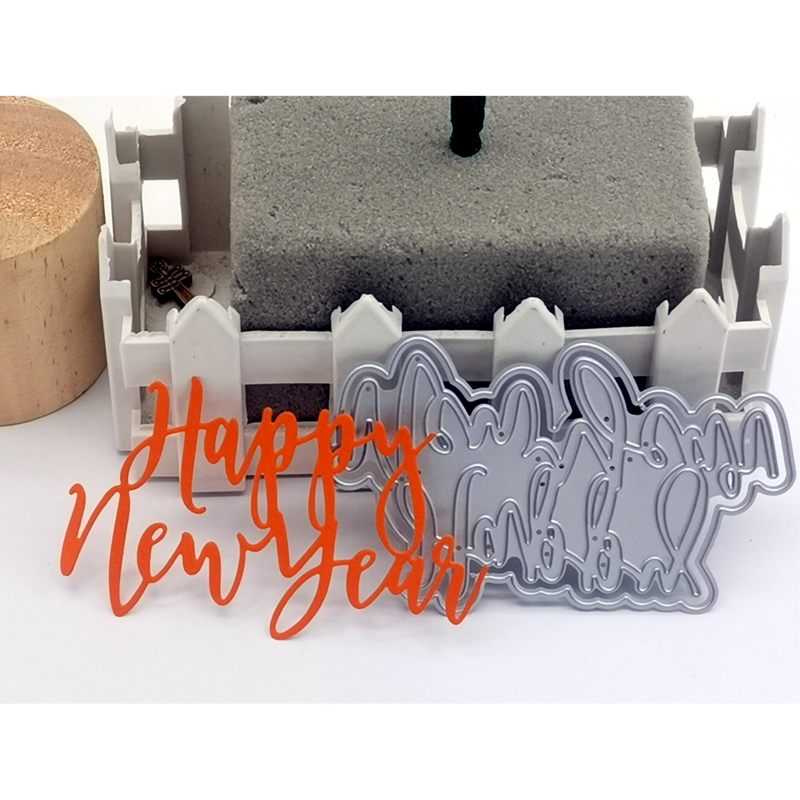 <font><b>2020</b></font> <font><b>New</b></font> 3D DIY Metal Cutting Dies and Scrapbooking For Paper Making <font><b>Happy</b></font> <font><b>New</b></font> <font><b>Year</b></font> Words Decor Embossing Frame <font><b>Card</b></font> Craft image