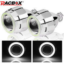 Lentille de projecteur au xénon Bi, 2.5 pouces, blanc 6000K, yeux dange LHD RHD, phares H4 H7, ampoules H1, style de voiture