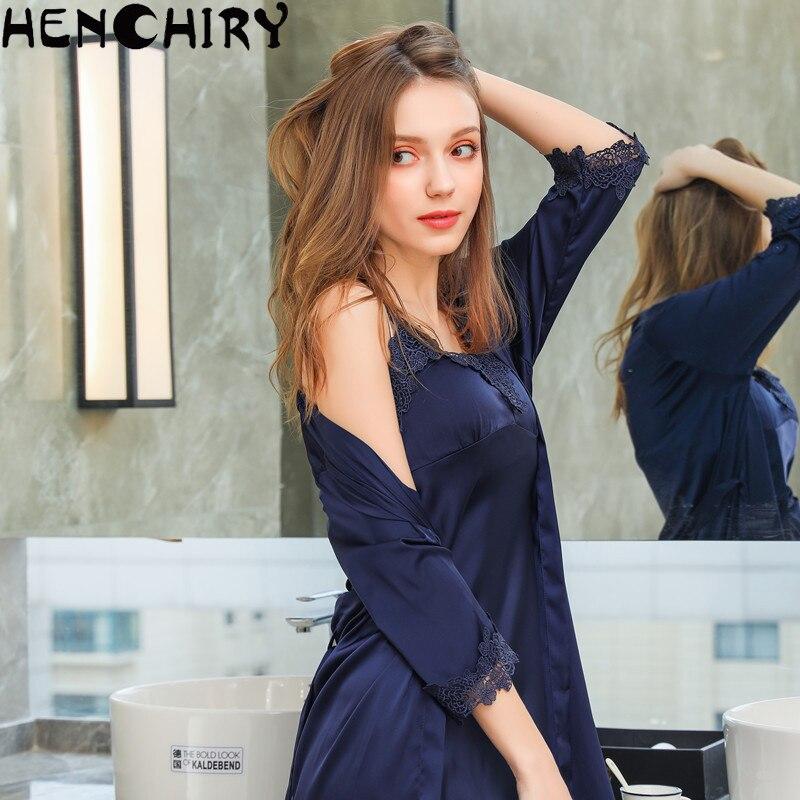 HENCHIRY lace sexy womens nightwear nightdress two sets of ice silk luxury women for girls satin