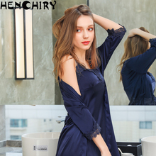HENCHIRY lace sexy womens nightwear nightdress two sets of ice silk luxury women for girls satin