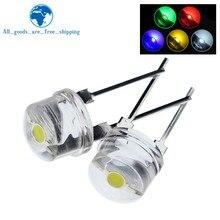 10 pces novo f8 8mm 0.5w 3.0-3.2v chapéu de palha led branco super brilhante lâmpada led grande angular transparente led strawhat lâmpada led led